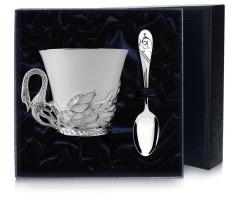 Набор  серебряная  чайная чашка «Лебедь»