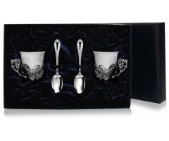 Набор серебряная  кофейная пара «Глухари»