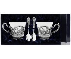 Набор чайная пара «Королевская охота» с чернением