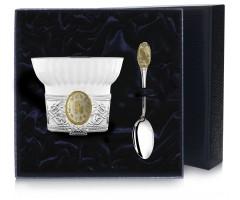 Чашка чайная c логотипом «Козерог» с позолотой