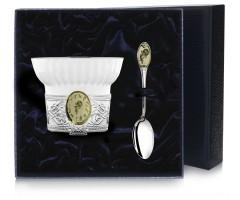 Чашка чайная c логотипом «Водолей» с позолотой