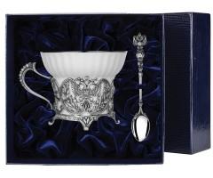 Набор  серебряная  чайная чашка «Герб» с чернением