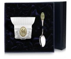 Чашка чайная c логотипом «Год Петуха» с позолотой