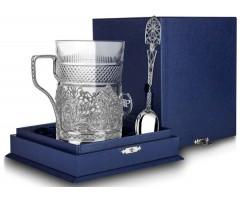 Cеребряный набор для чая «Скань» с чернением