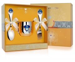 Набор детского серебра «Принц» КД с позолотой  и эмалью