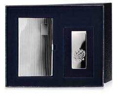 Набор серебряная визитница и зажим для купюр «Герб»