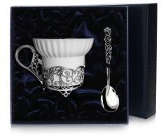 Набор чайная серебряная чашка «Зимние узоры»