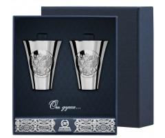 Набор серебряных стопок «Герб» полированных из 2 предметов