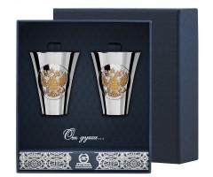 Набор серебряных стопок «Герб» полированных с позолотой из 2 предметов
