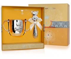 Набор детского серебра с поильником  «Мишка» и погремушкой