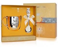 Набор детского серебра с кружкой «Мишутка»