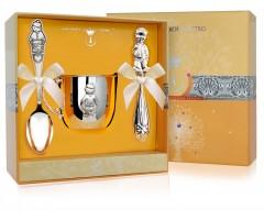 Набор детского серебра «Мальчик» с погремушкой