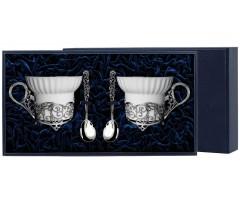 Серебряная чайная пара «Зимние узоры»