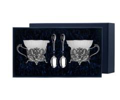 Набор для чая «Герб» с чернением (4 предмета)