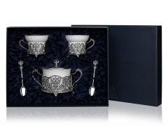 Набор для чая «Герб» с чернением (5 предметов)