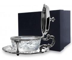 Серебряная сахарница овальная «Инглезе»  с крышкой
