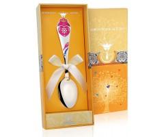 Детская серебряная ложка «Сердечко» КД с позолотой с эмалью