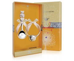 Набор детского серебра «Мишка» с погремушкой на серебряном кольце