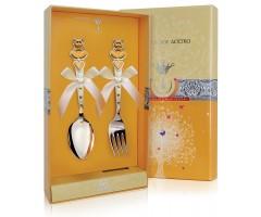Набор детских серебряных столовых приборов «Мишка с сердечками»