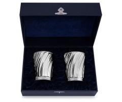 Набор из пары серебряных бокалов для вина волнообразных