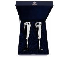 Набор из пары серебряных фужеров для шампанского с волнообразным рисунком