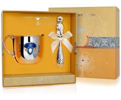 Набор детского серебра с кружкой  «Принц»  КД с погремушкой