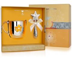 Набор детского серебра с кружкой «Звезда» КД с погремушкой