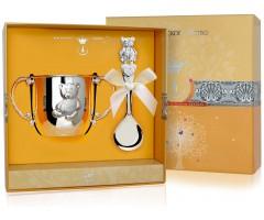 Набор детского серебра с поильником «Мишка»