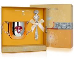 Набор детского серебра с поильником  «Принцесса» КД  с погремушкой