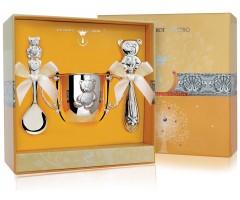 Набор детского серебра «Мишутка» с погремушкой