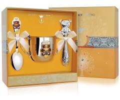 Набор детского серебра «Мишка» КД с погремушкой