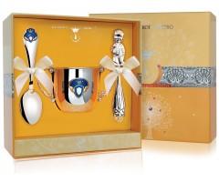 Набор детского серебра «Принц» КД с погремушкой
