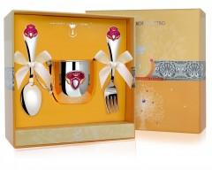 Набор детского серебра «Принцесса» КД с позолотой и эмалью