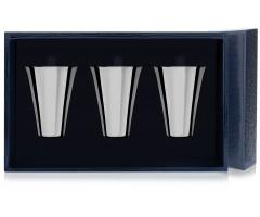 Набор серебряных стопок «Гладкая» из 3 предметов