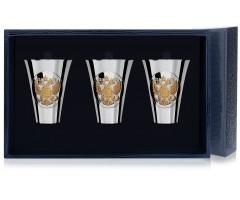 Набор серебряных стопок «Герб» полированных с позолотой из 3 предметов