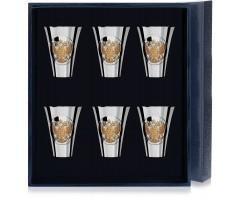 Набор серебряных стопок «Герб» полированных с позолотой из 6 предметов