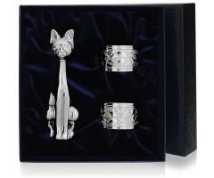 Набор  из серебряной  подставки для зубочисток «Кот» и 2 колец для салфеток