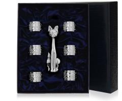 Набор  из серебряной  подставки для зубочисток «Кот» и 6 колец для салфеток