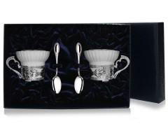 Набор  серебряная чайная пара «Константин Великий»