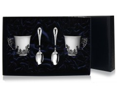 Набор серебряная кофейная пара «Зайцы»