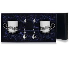 Набор  серебряная чайная  пара «Виноград»