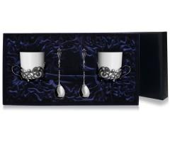 Набор  серебряная чайная  пара «Витая»