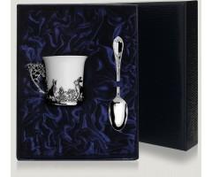 Набор  серебряная кофейная чашка «Зайцы»