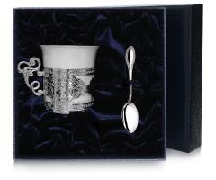Набор серебряная  кофейная  чашка «Август Октавиан»