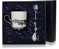 Набор   серебряная чайная  чашка «Виноград» с чернением