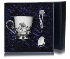 Набор  серебряная  чайная чашка «Цветочная»