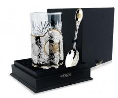 Серебряный набор для чая «Единство» с позолотой из 3 предметов
