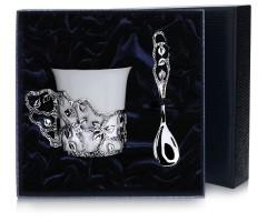 Набор  серебряная кофейная  чашка «Листопад»