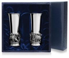 Набор серебряных стопок «Кабаны» из 2 предметов с чернением