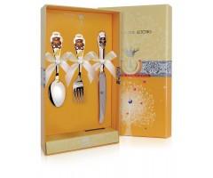 Набор детских серебряных столовых приборов «Мишка» КД с ножом